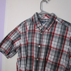 Dark Red and Grey Plaid Short Sleeve Button Down